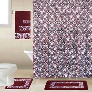 Accessories - 18Pcs Printed Bathroom Sets Burgundy